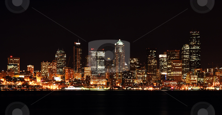 Downtown buildings stock photo, A view of Seattle downtown buildings at night by Suprijono Suharjoto