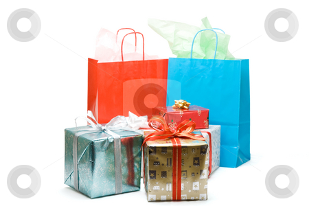 Christmas presents stock photo, A shot of shopping bags and christmas gifts on white by Suprijono Suharjoto