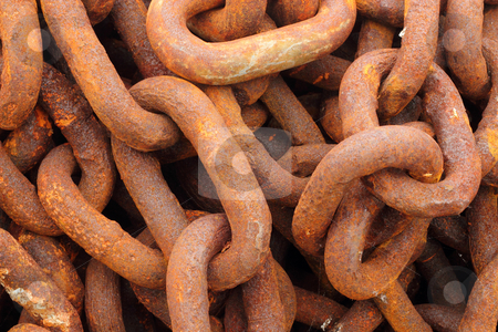 Old rusty ship anchor chain links close up.  stock photo, Old rusty ship anchor chain links close up. by Stephen Rees