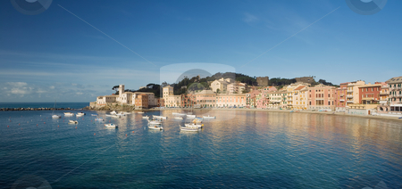 Sestri Levante, panorama stock photo, Panoramic view of Baia del Silenzio in Sestri Levante, famous small town in Mediterranean sea, Liguria, Italy by ANTONIO SCARPI