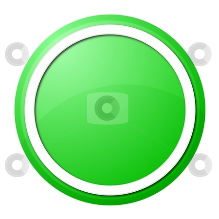 Green button stock photo, Round button with white ring for web design and presentation by Henrik Lehnerer