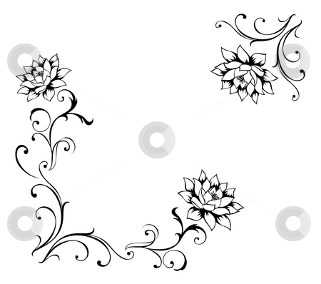 Flower pattern stock photo, Drawing of flower pattern in a white background by Su Li