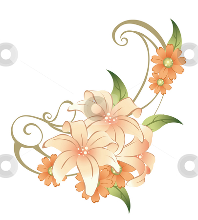 Flower stock photo, Drawing of beautiful flower in a white background by Su Li