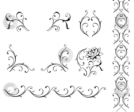 Flower pattern stock photo, Illustration drawing of beautiful black flower pattern by Su Li