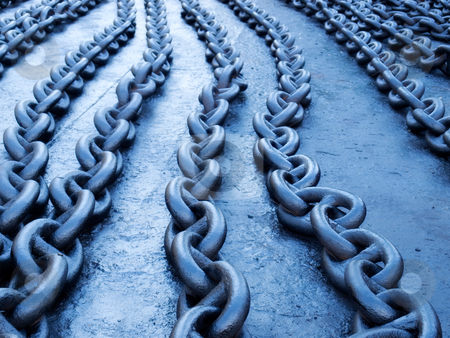 Blue chain stock photo, Naturally blue toned ship chains on the dock. by Sinisa Botas