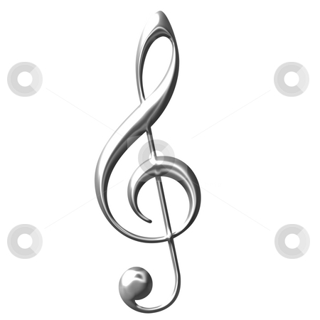 3D Silver Treble Clef  stock photo, 3d silver Treble Clef isolated in white by Georgios Kollidas