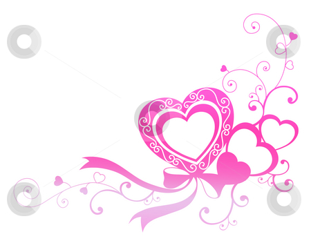 Pink heart with ribbon stock photo, Drawing of beautiful pink heart ...