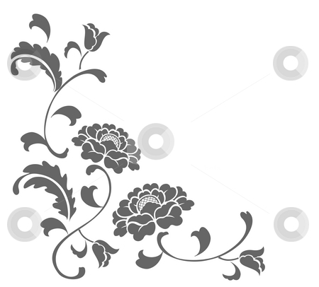 Flower pattern stock photo, Drawing of grey flower in a white background by Su Li