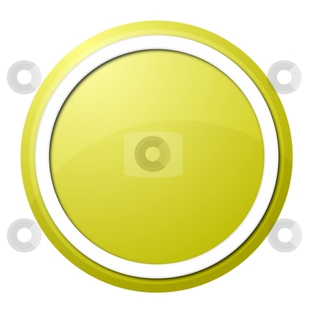 Yellow button stock photo, Round button with white ring for web design and presentation by Henrik Lehnerer