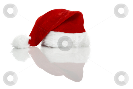 Christmas hat stock photo, Christmas hat isolated on a white background with reflection by ikostudio