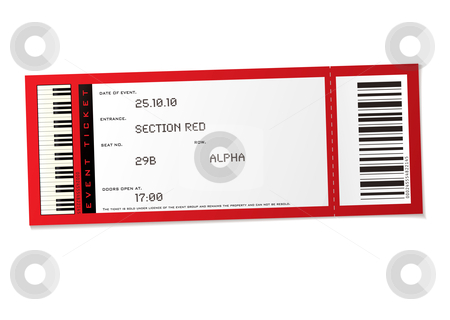 Concert event ticket stock vector clipart, Red concert event ticket with set number and bar code by Michael Travers