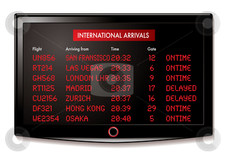 LCD airport arrivals stock vector clipart, International flight arrivals display board with time and gate numbers by Michael Travers