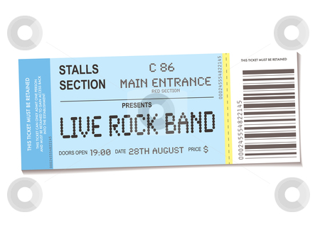 Concert ticket stock vector clipart, Sample concert ticket with realistic look and date information by Michael Travers