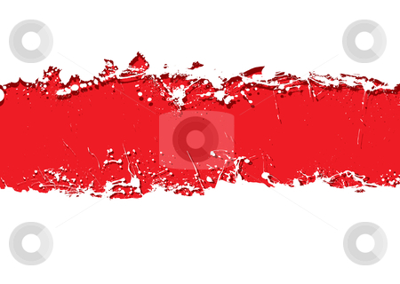 Grunge strip background blood stock vector clipart, Blood red background with white grunge ink splat banner by Michael Travers