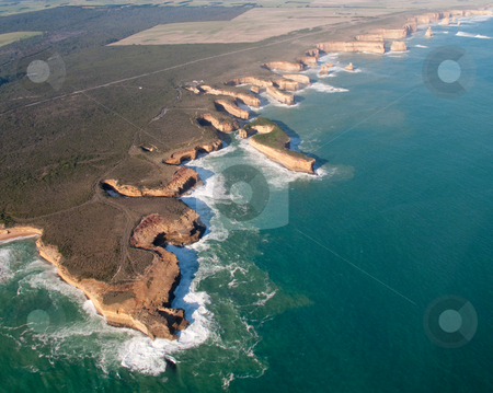 Twelve Apostles in Australia stock photo, Aerial view over the Twelve Apostles off the coast of Australia by Steven Heap