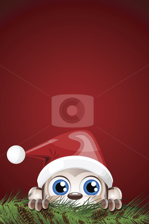 Cute Character Christmas Background stock vector clipart, Vector illustration of a character hiding behind pine branches with cones on a red gradient background. by Karima Lakhdar