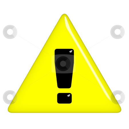 3D Warning Sign stock photo, 3d warning sign isolated in white by Georgios Kollidas