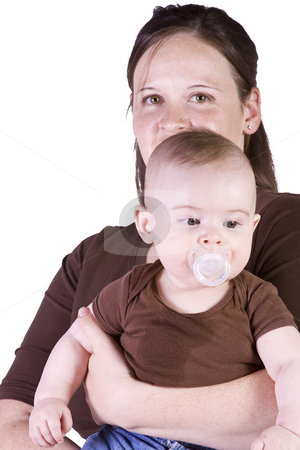 Mother and Son Posing stock photo, Isolated Shot of a Mother and Son on White Background by Mehmet Dilsiz