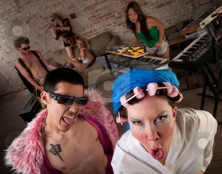 1970s Disco Music Party stock photo, Disorderly Conduct at a 1970s Disco Music Party by Scott Griessel