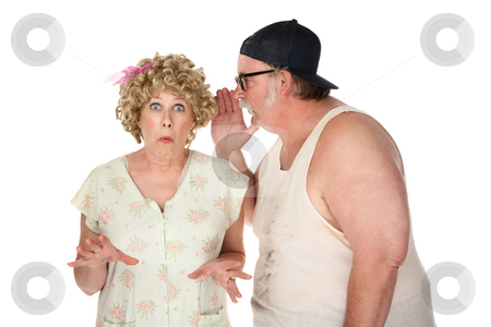 Whisper stock photo, Man sharing a secret with a woman on white background by Scott Griessel