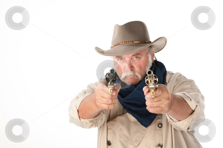 Big cowboy pointing two pistols on white background stock photo, Big cowboy pointing pistols on white background by Scott Griessel