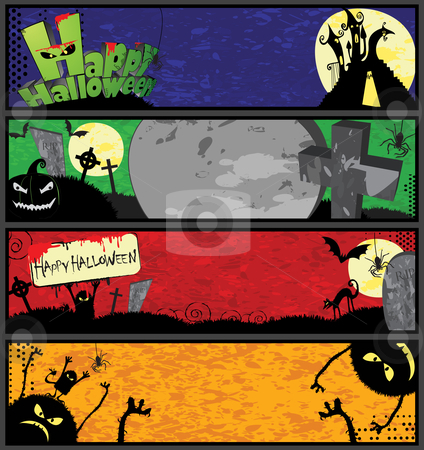 Halloween Banners in Different Colors stock vector clipart, 4 horizontal halloween banner templates in different colors by Linnea Eriksson