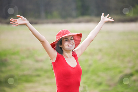 Beautiful summer woman outdoor stock photo, A shot of a beautiful hispanic woman outdoor in summer by Suprijono Suharjoto