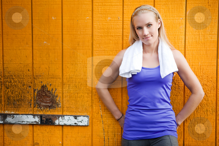 Sporty woman stock photo, A portrait of a beautiful sporty caucasian woman  resting by Suprijono Suharjoto