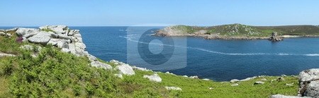 Panoramic view of Tresco from Bryher, Isles of Scilly, Cornwall UK. stock photo, Panoramic view of Tresco from Bryher, Isles of Scilly, Cornwall UK. by Stephen Rees