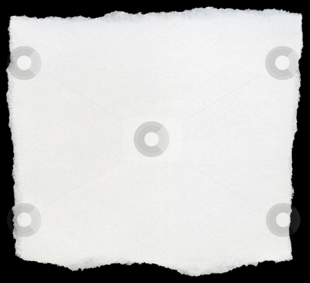 White torn square of paper isolated on a black background. stock photo, White torn square of paper isolated on a black background. by Stephen Rees