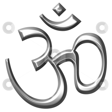 3D Silver Hinduism Symbol  stock photo, 3d silver Hinduism symbol isolated in white by Georgios Kollidas