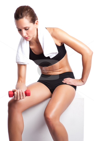 Beautiful exercise woman stock photo, An isolated shot of a beautiful caucasian woman doing exercise by Suprijono Suharjoto