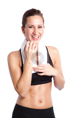 Beautiful sporty woman stock photo, An isolated shot of a sporty beautiful caucasian woman laughing by Suprijono Suharjoto