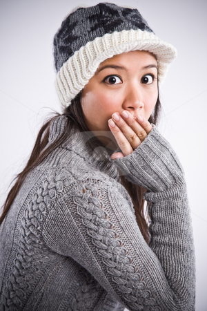 Surprised beautiful asian woman stock photo, A shot of a surprised beautiful asian woman by Suprijono Suharjoto