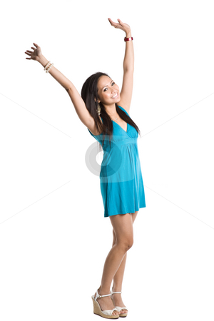 Happy beautiful asian woman stock photo, An isolated shot of a happy beautiful asian woman by Suprijono Suharjoto