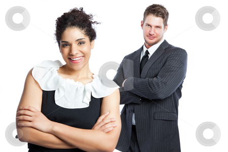 Business people stock photo, An isolated shot of a black  businesswoman and a caucasian businessman by Suprijono Suharjoto