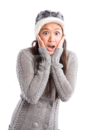 Surprised beautiful asian woman stock photo, A shot of a surprised beautiful asian woman in winter outfit by Suprijono Suharjoto