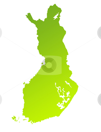Finland stock photo, Green gradient map of Finland isolated on a white background. by Martin Crowdy