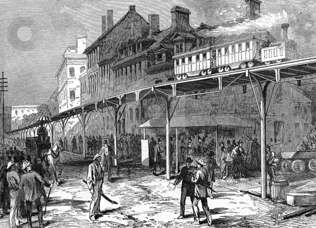 A Street Railway in New York stock photo, Engraving of a street railway in New York, showing a railway suspended above the ground on a narrow wooden track above a road, held up by beams. Published in Illustrated London News in 1876. Public domain image by virtue of age. by Martin Crowdy