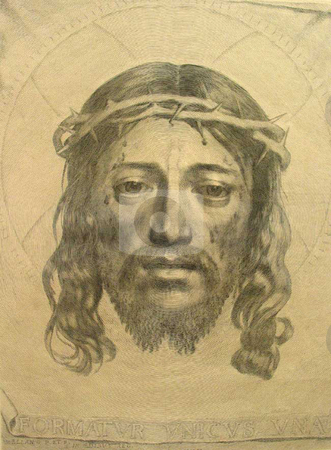 Jesus Christ stock photo, Veil of Veronica (1649), engraving and etching by Claude Mellan of Jesus Christ in Crown of Thorns. Public domain image by virtue of age. by Martin Crowdy