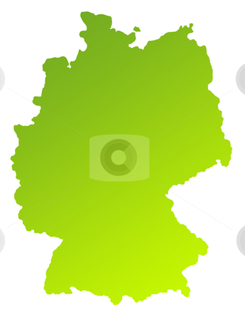 Germany stock photo, Green gradient map of Germany isolated on a white background. by Martin Crowdy