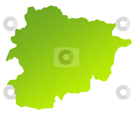 Andorra map stock photo, Green gradient map of Andorra isolated on a white background. by Martin Crowdy