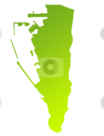 Gibraltar stock photo, Green gradient map of Gibraltar isolated on a white background. by Martin Crowdy