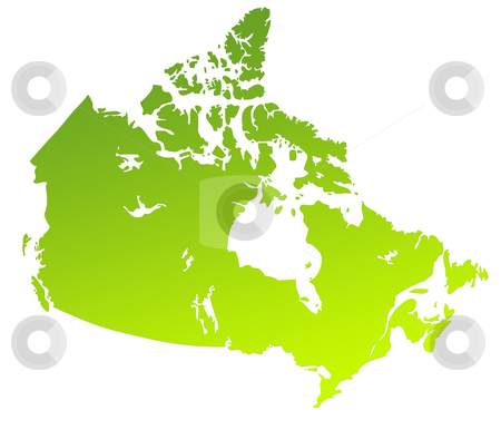 Canada map stock photo, Green gradient map of Canada isolated on a white background. by Martin Crowdy