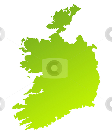 Ireland stock photo, Green gradient map of Ireland isolated on a white background. by Martin Crowdy