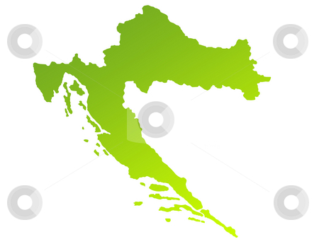 Croatia stock photo, Green gradient map of Croatia isolated on a white background. by Martin Crowdy