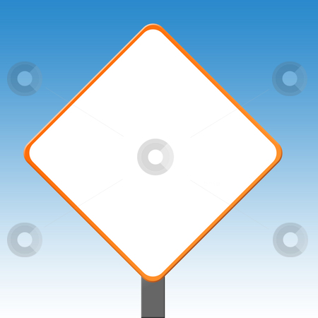 Blank orange sign post stock photo, Blank orange sign post with copy space and blue sky background. by Martin Crowdy
