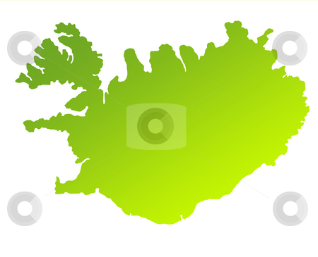 Iceland stock photo, Green gradient map of Iceland isolated on a white background. by Martin Crowdy