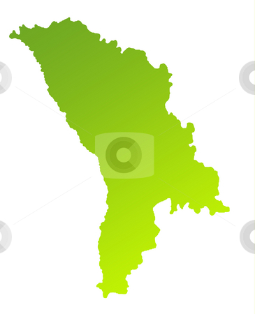 Moldova stock photo, Green gradient map of Moldova isolated on a white background. by Martin Crowdy