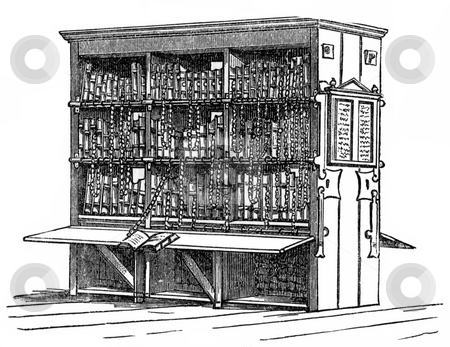 Antique bookcase stock photo, Engraving of antique bookcase on white background. Published by William Andrews in,